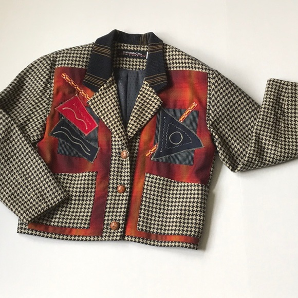 Canvasbacks Jackets & Blazers - Vintage wool cashmere collage patch jacket Sz XS